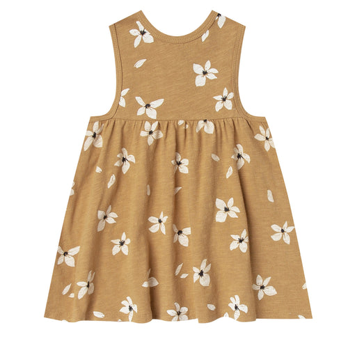 Girls knit sleeveless orange floral dress with a-line skirt