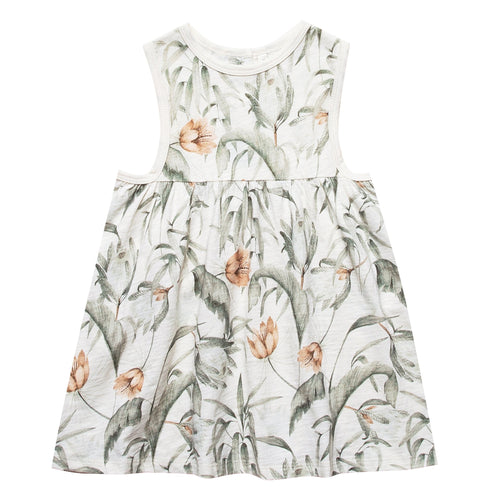 Girls sleeveless cream dress with tropical print