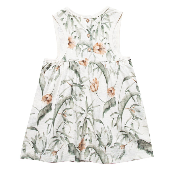 Sleeveless cream dress with tropical print for girls