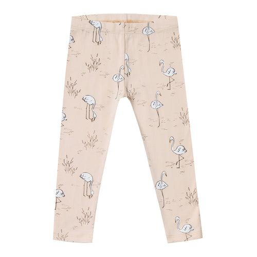 Girls light pink leggings with allover flamingo print
