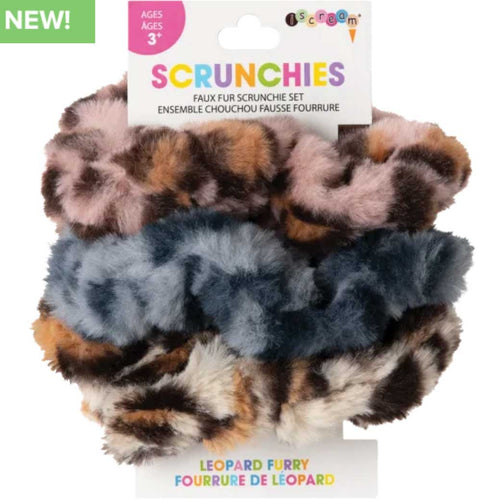 iScream Leopard Furry Scrunchies Set