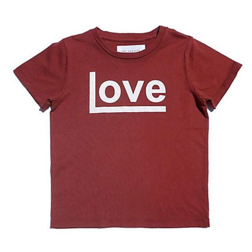 Red short sleeve girls tee with white LOVE graphic