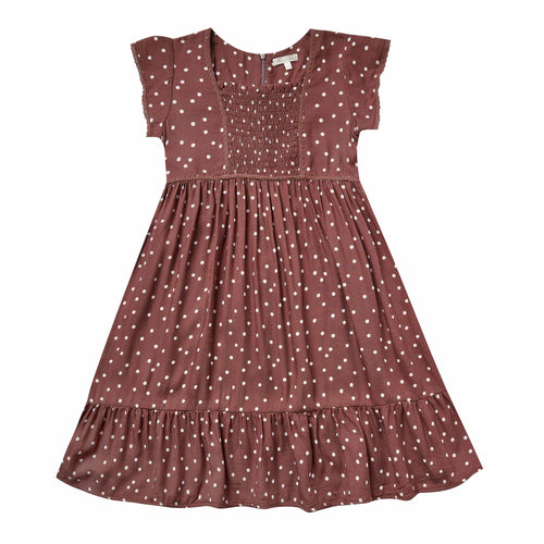 Rylee and Cru Wine Dot Madeline Girls Dress