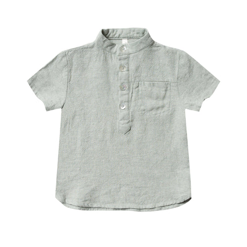 Rylee and cru light green button front short sleeve boys shirt