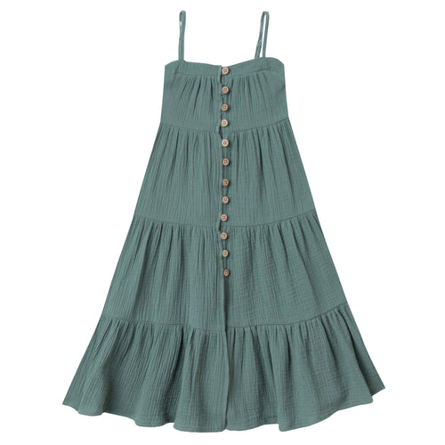 Girls tiered dark green sleeveless maxi dress