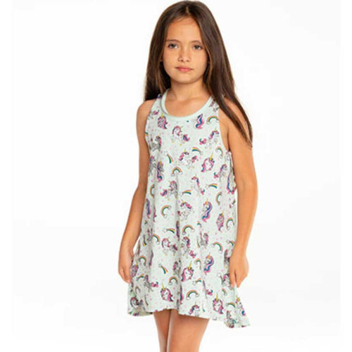 Chaser Rainbows & Unicorns Jersey Tank Girls Dress