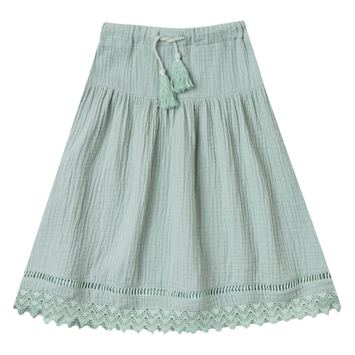 Girls light green maxi skirt with lace trim