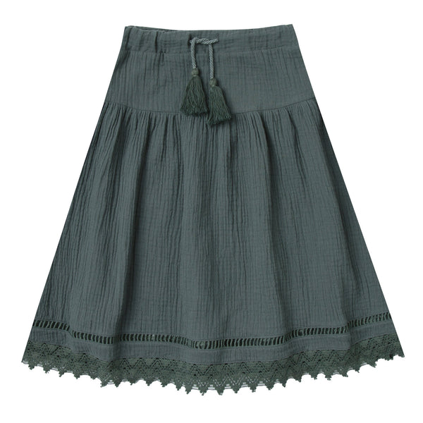 Girls dark grey maxi skirt with lace trim