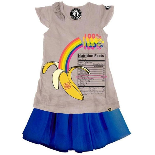 Short sleeve girls t shirt dress with banana graphic and blue skirt