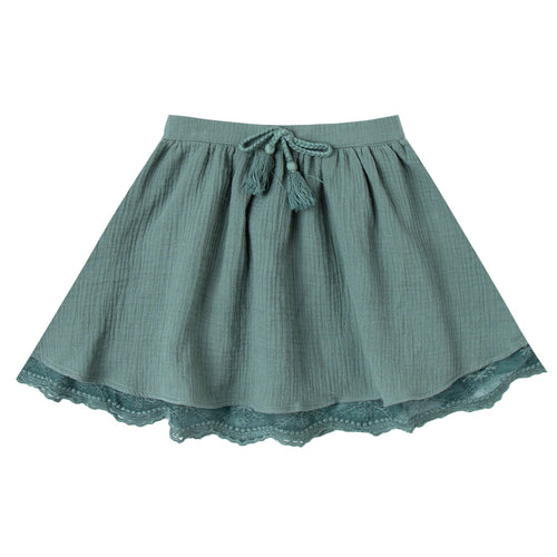 Girls dark green circle skirt with lace trim