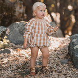 Rylee and Cru Cinnamon Check Bubble Baby Romper
