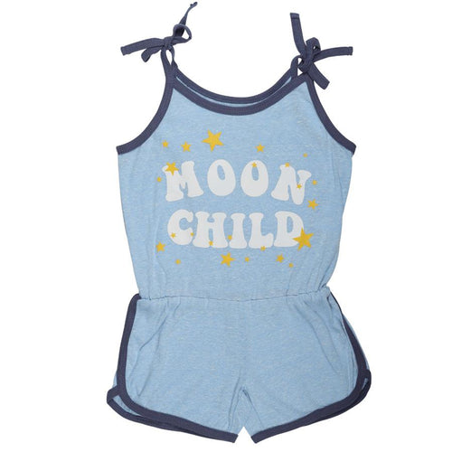 Light blue sleeveless girls romper with MOON CHILD