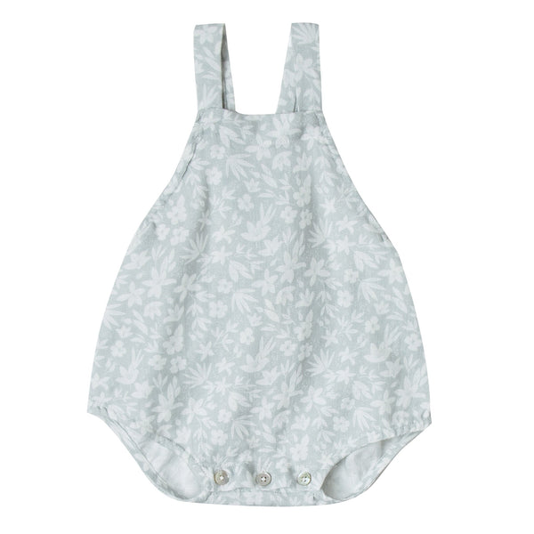 Baby girl light blue ditsy print romper with tie back