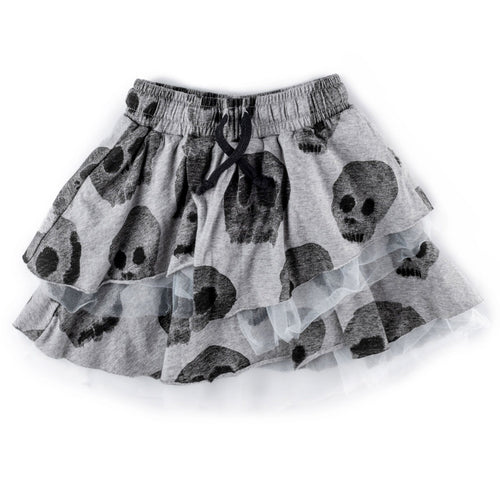 NUNUNU grey skull print girls tulle skirt