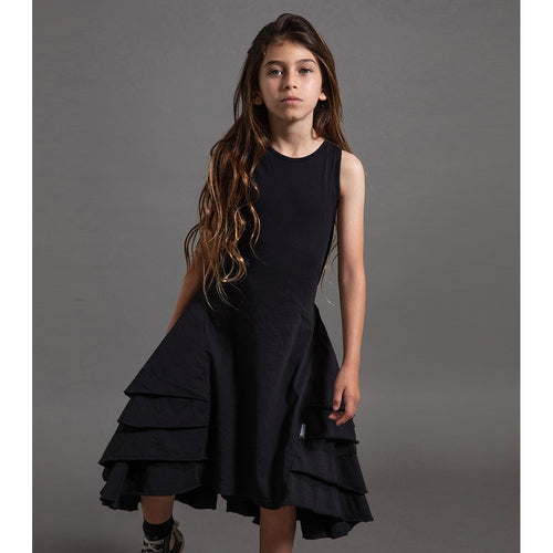 Nununu black ruffle sleeveless dress for girls