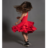 Nununu red sleeveless layered girls dress
