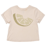 Omamimini cream short sleeve olive boys graphic t-shirt