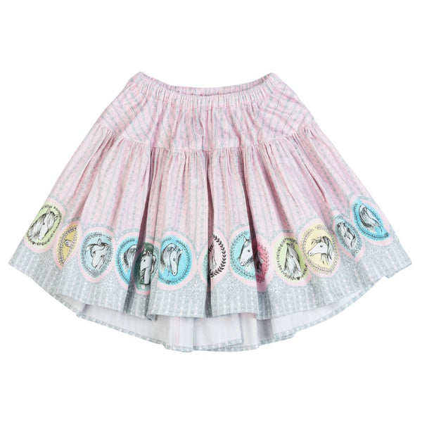 Pink horse border girls skirt by Paper Wings Clothing