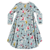 Girls hi lo dress with beautiful forest print