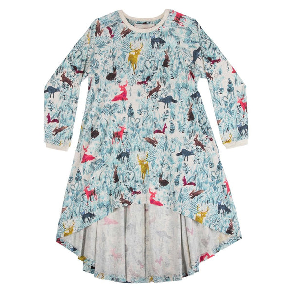 Girls hi low forest print dress