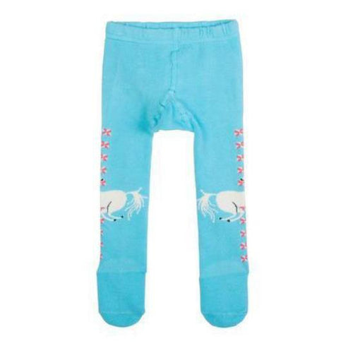 Girls turquoise blue unicorn tights