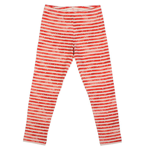 Girls red stripe and star leggings