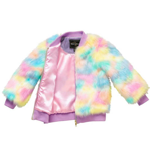 Rock Your Kid Pastel Tie Dye Furry Coat