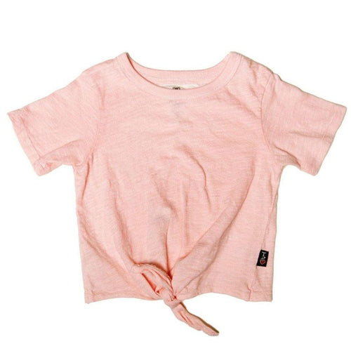 Tween peach girls tee shirt with tie front