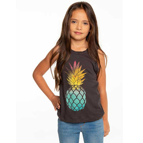 Sleeveless grey girls sweatshirt with pineapple graphic and smocked bottom