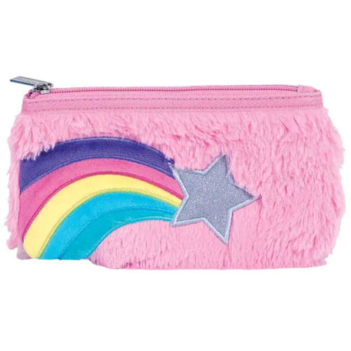 iScream Furry Pink Rainbow Star Pencil Case