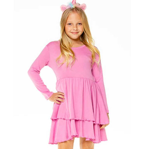 Chaser Pink Ribbed Tiered Peplum Girls Dress