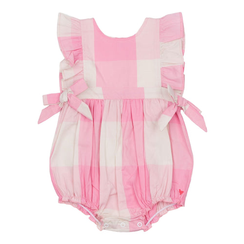 Pink chicken pink gingham girls bubble romper