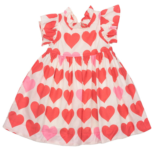 Pink chicken heart print sleeveless girls dress