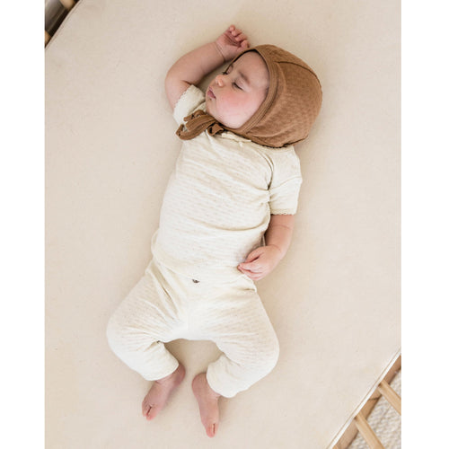 Ivory pointelle short sleeve knit tee for baby