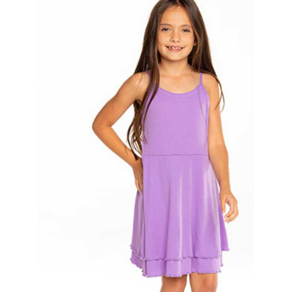 Chaser Electric Purple Ribbed Cami Girls Dress