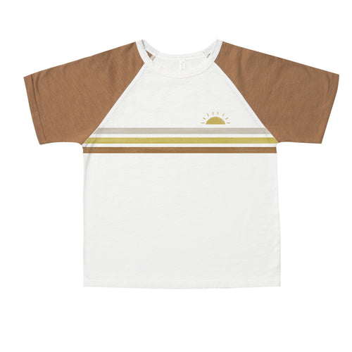 Rylee and cru brown and white retro raglan boys t shirt