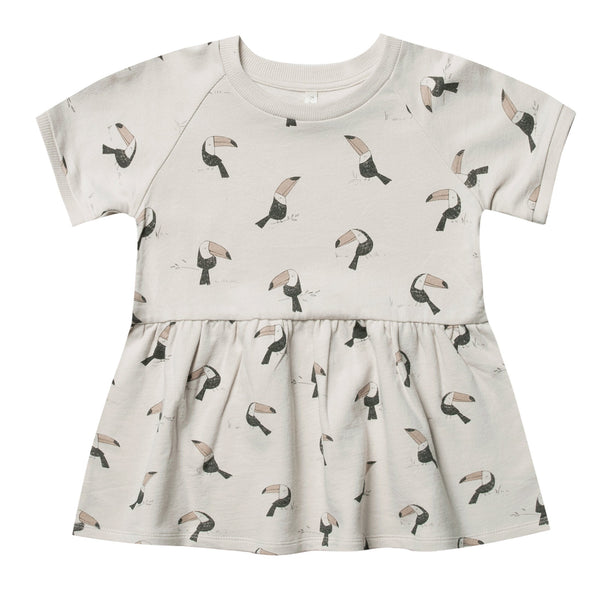 Girls grey short sleeve knit dress with toucan artwork