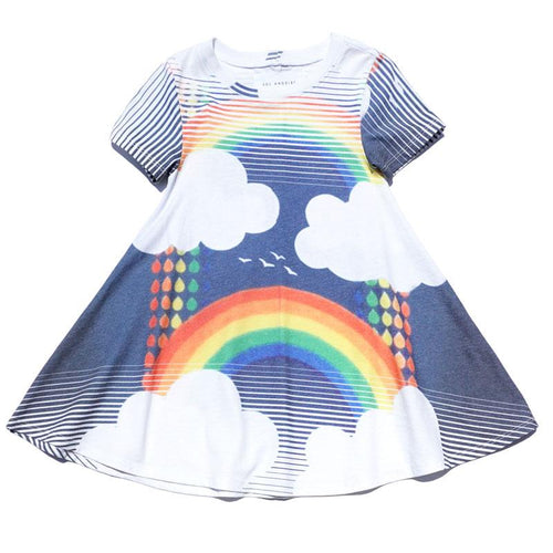 Short sleeve A line girls dress with cloud and rainbow graphic