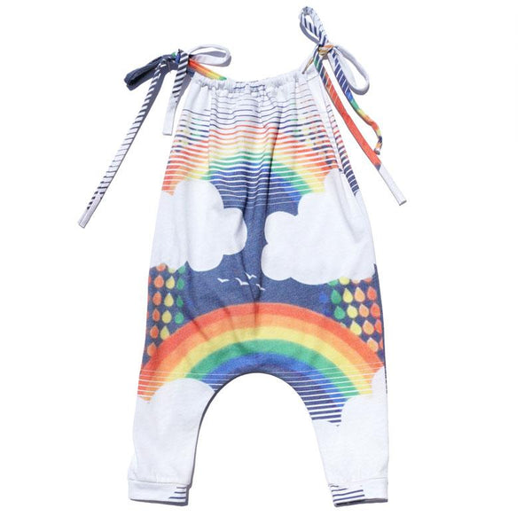 Rainbow graphic baby girl romper with tie straps