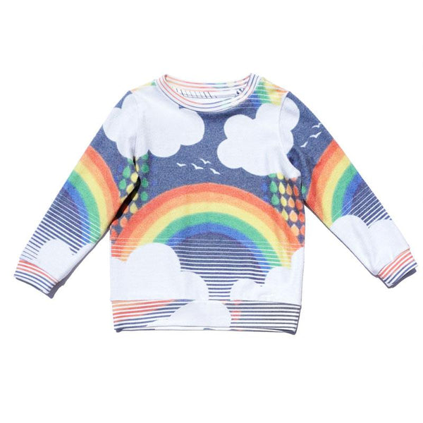 Long sleeve girls sweatshirt with rainbow and clouds graphic