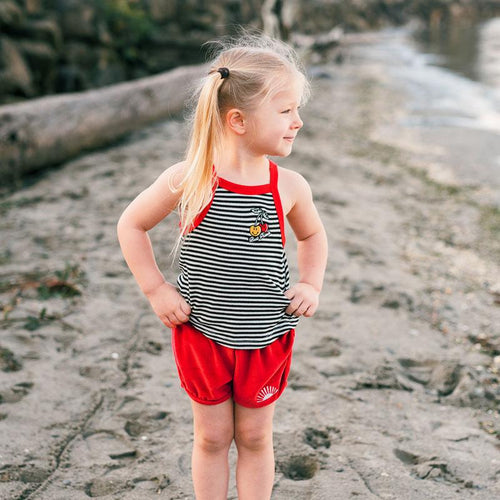 Tiny Whales Red Velour Sunshine Girls Shorts