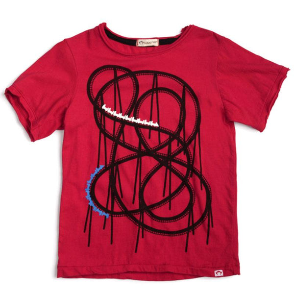 Red short sleeve boy tee with roller coaster graphic