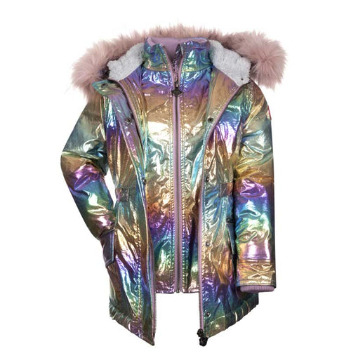 Appaman Puffer Girls' Coat - Rainbow Ombre