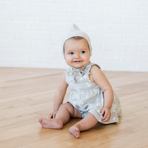 Light grey floral organic knit dress for baby girl