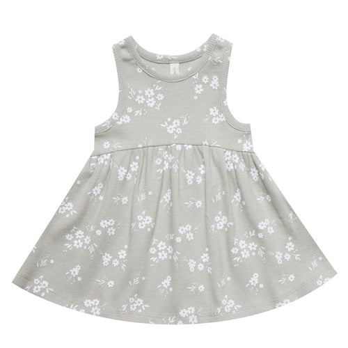 Baby girl light grey floral organic knit dress