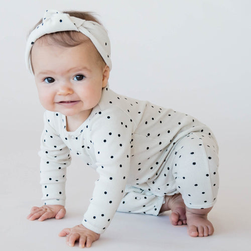 Polka dot turban headband for baby girl