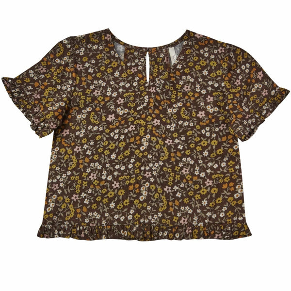 Rylee and cru floral short sleeve girls blouse