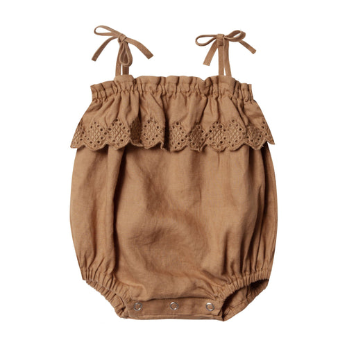 Rylee and cru brown ruffle baby girl bubble romper
