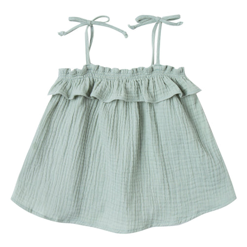 Girls light green a-line top with tie shoulders