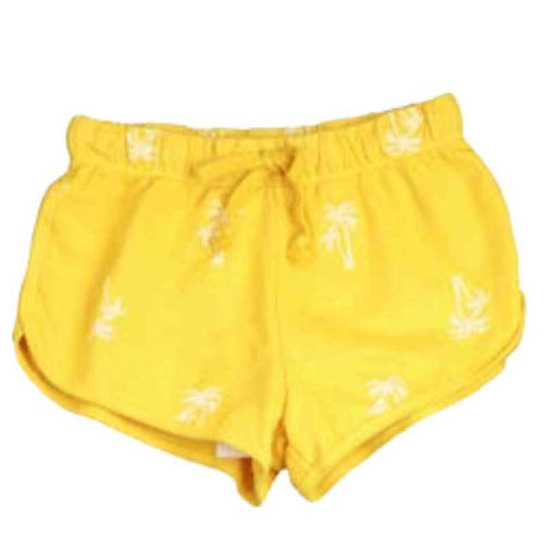 T2Love Yellow Tween Girl Track Shorts with Palm Print